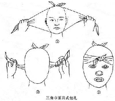 面部三角巾剪洞法止血包扎